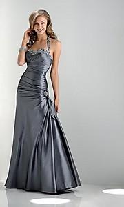Duga maturska haljina u srebrno-sivoj boji