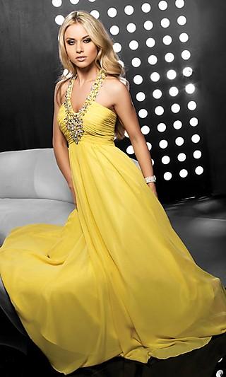 Duga maturska haljina u žutoj boji