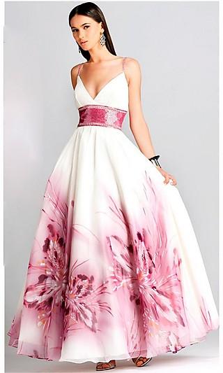 Duga maturska haljina sa pink cvetnim dezenom
