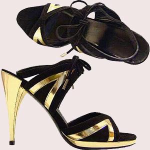 Crne Gucci sandale sa zlatnim detaljima