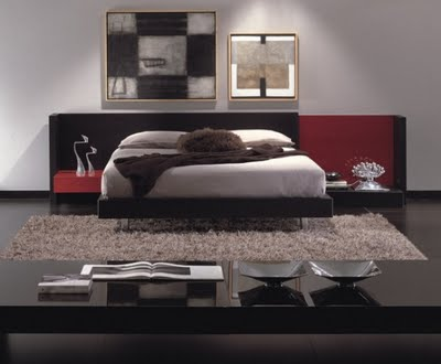 Contemporary-bedroom-with-black-floor-picture-of-walls-and-beige-carpet-with-red-drawers