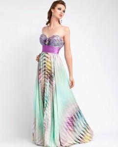 Duga šarena haljina bez bretela