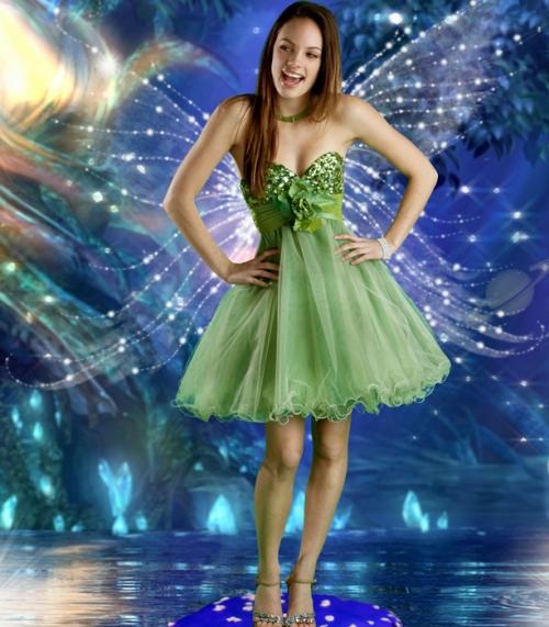 Maturska haljina u boji pistaća