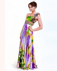 Šarena maturska haljina sa ukrasom preko ramena